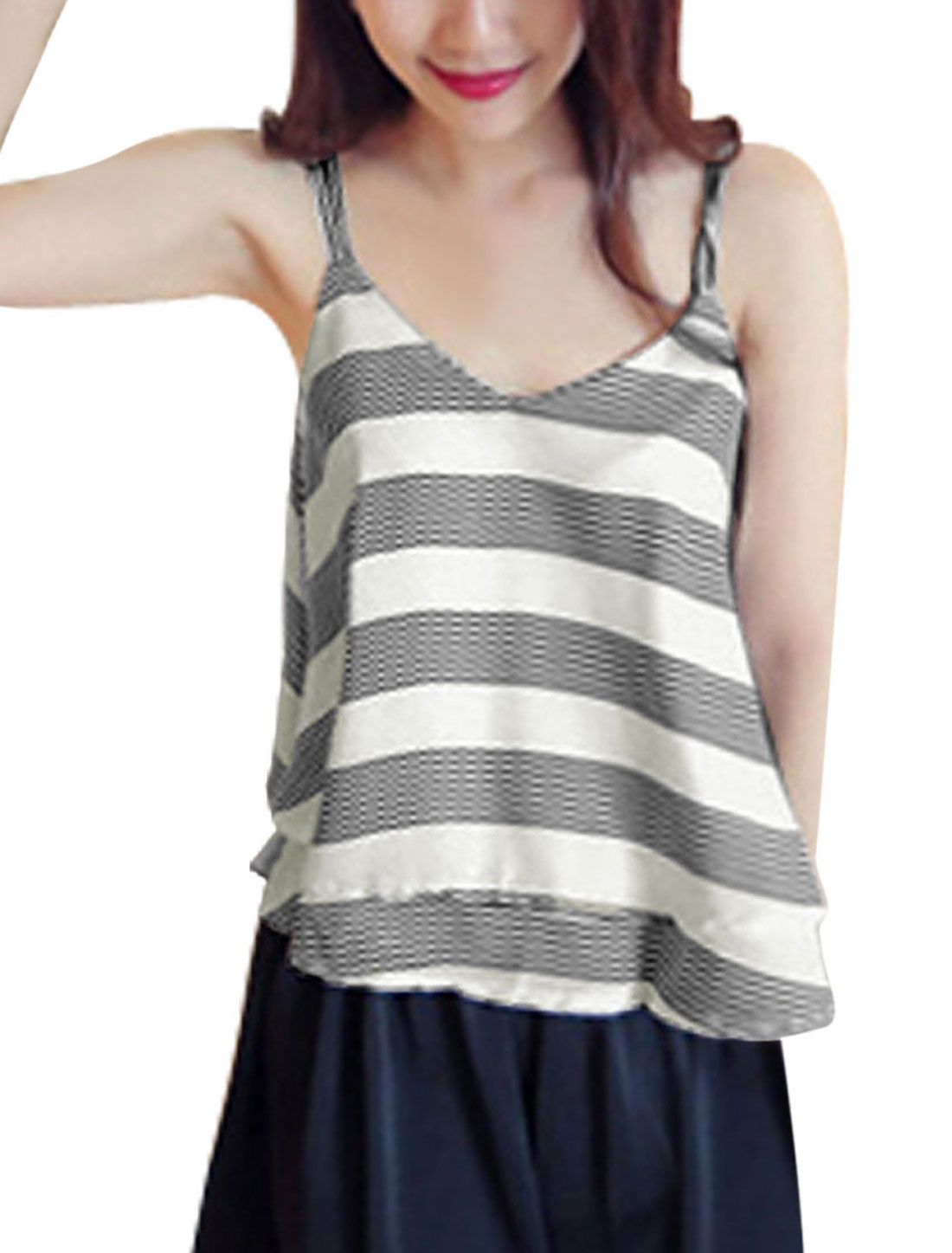 Women Deep U Back Tiered Design Stripes Chiffon Tank Top White S