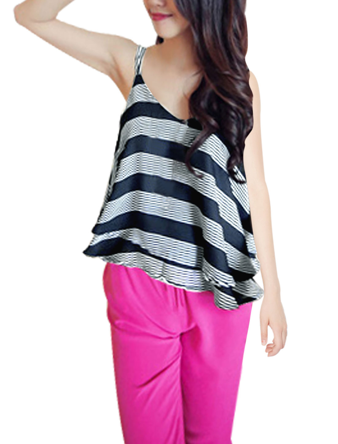 Lady Deep U Neck Layered Slipover Chiffon Tank Top Navy Blue S