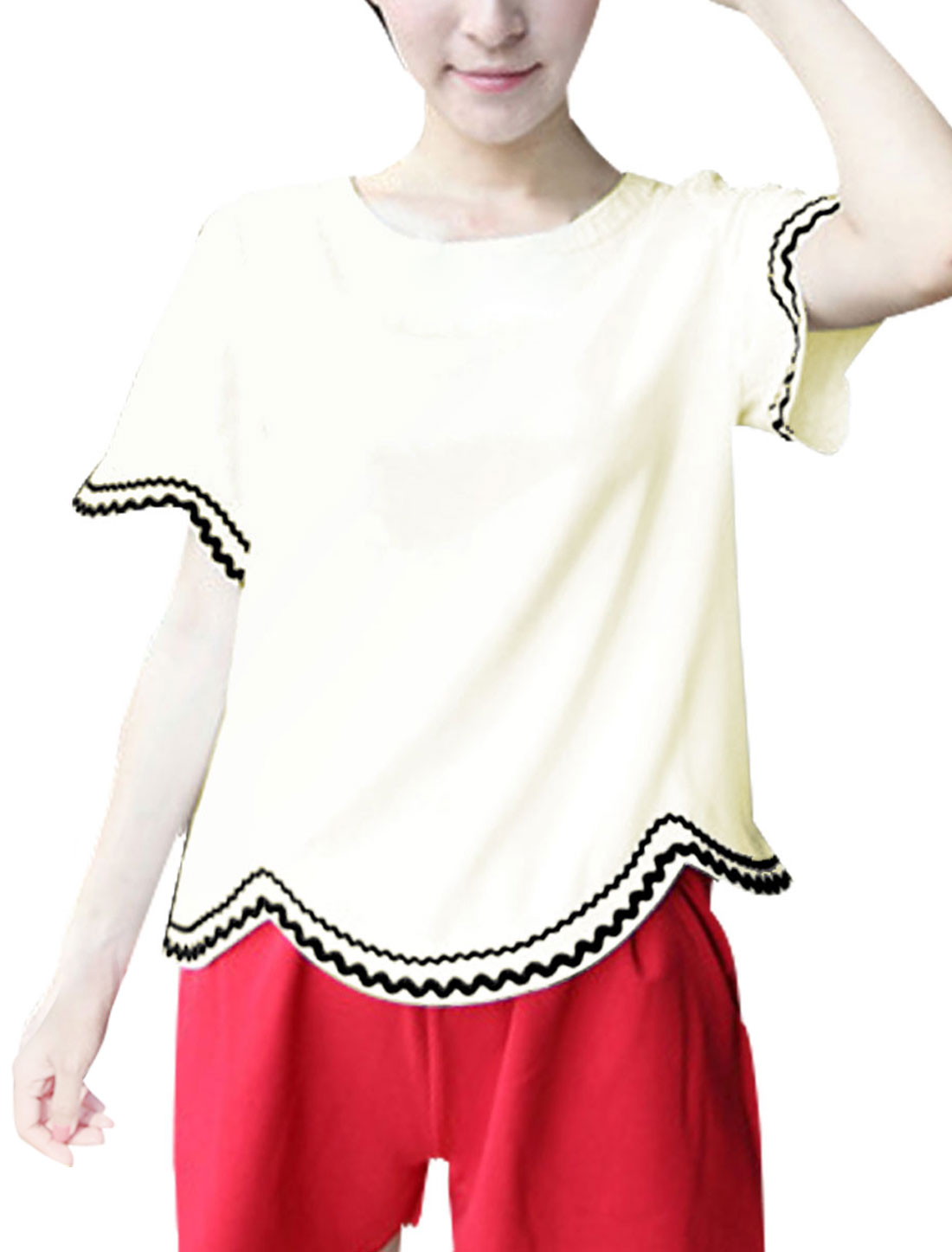 Short Sleeve Scolloped Hem Casual Styling Top for Ladies White XS