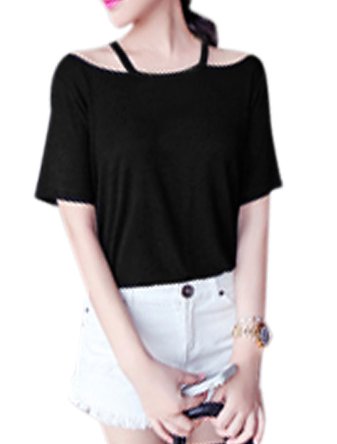 Lady Round Neck Cut Out Design Short Sleeve T-Shirt Black XS