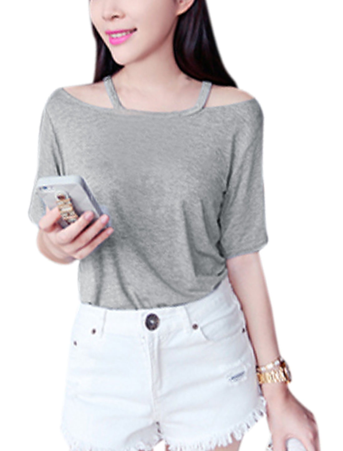 Lady Simple Round Neck Cut Out Design T-Shirt Gray XS