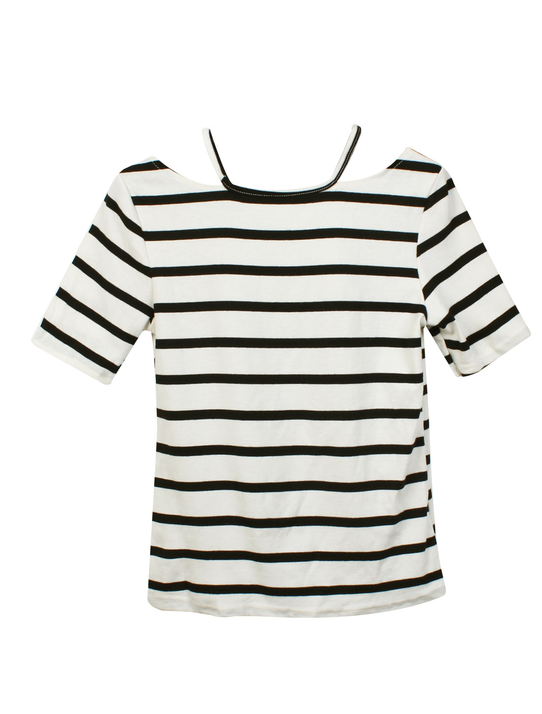 Women Round Neck Cut Out Style Short Sleeve Stripes Basic Tee White XS