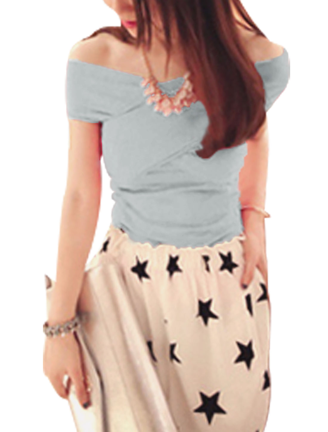 Off Shoulder Form-fitting Fashionable Top for Women Light Gray XS