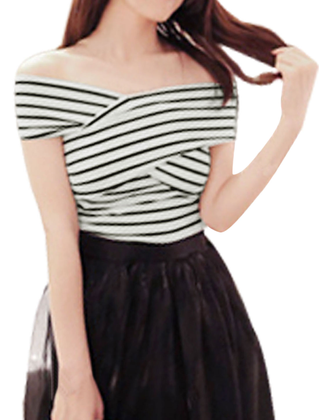 Lady Stripes Pattern Crossover Chest Design Slim Fit Top White Black XS