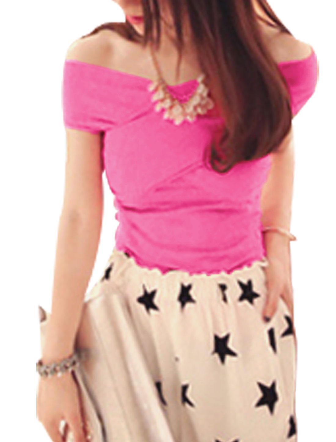 Ladies Casual Styling Crossover Chest Design Slipover Top Fuchsia XS
