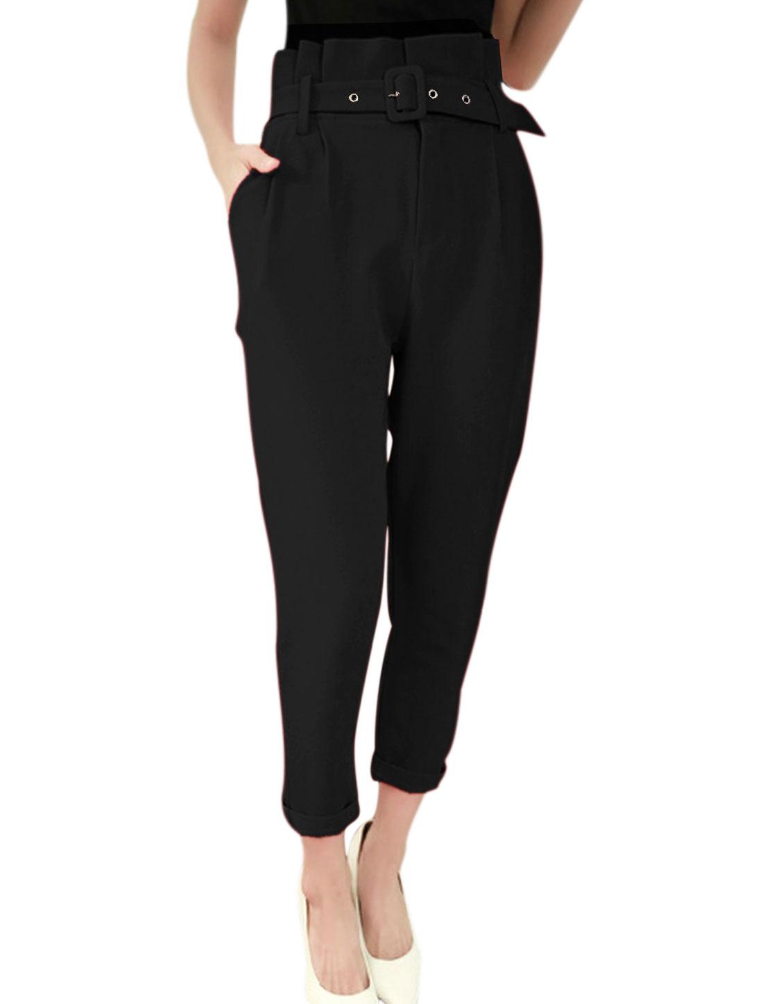 Women High Waist Pleated Detail Fashion Cropped Pants w Belt Black S