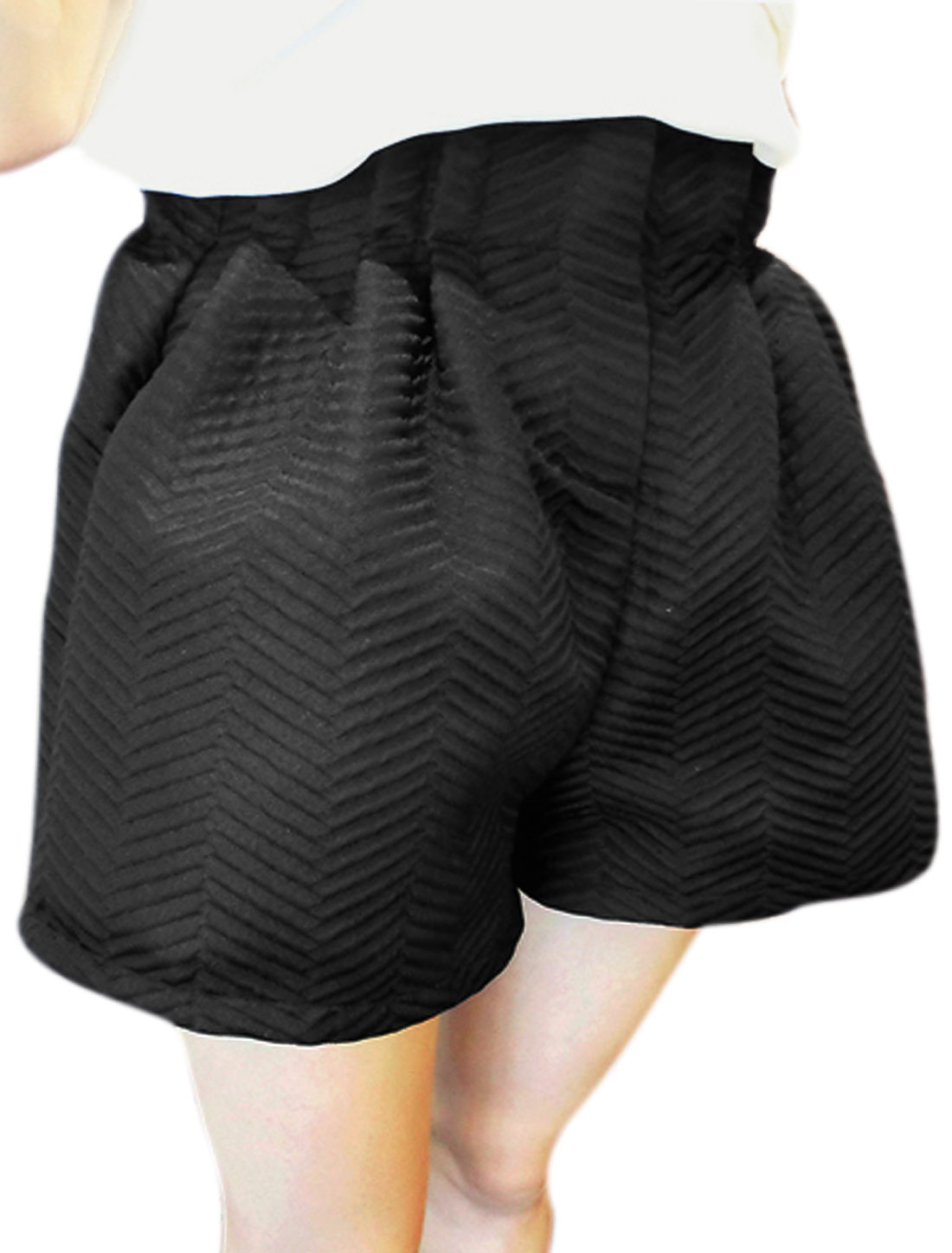 Women High-Rise Pleated Detail Zipper Fly Chic NEW Shorts Black XS