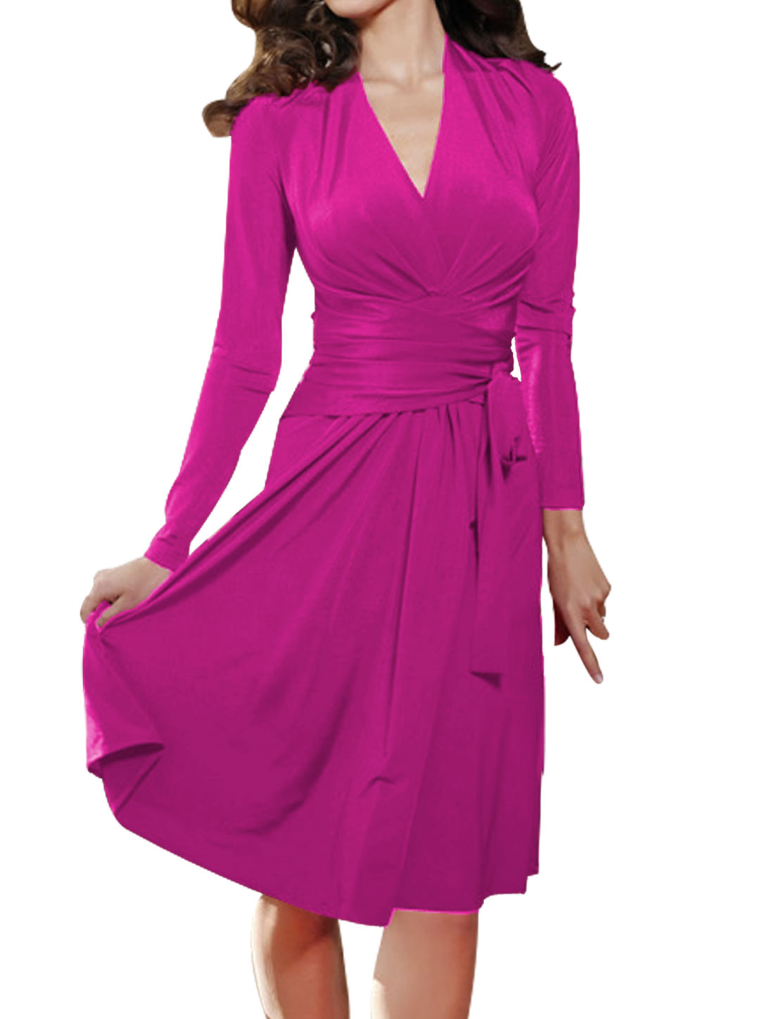 Women Crossover Deep V Neck Self-Tie Strap Waist Dress Fuchsia L