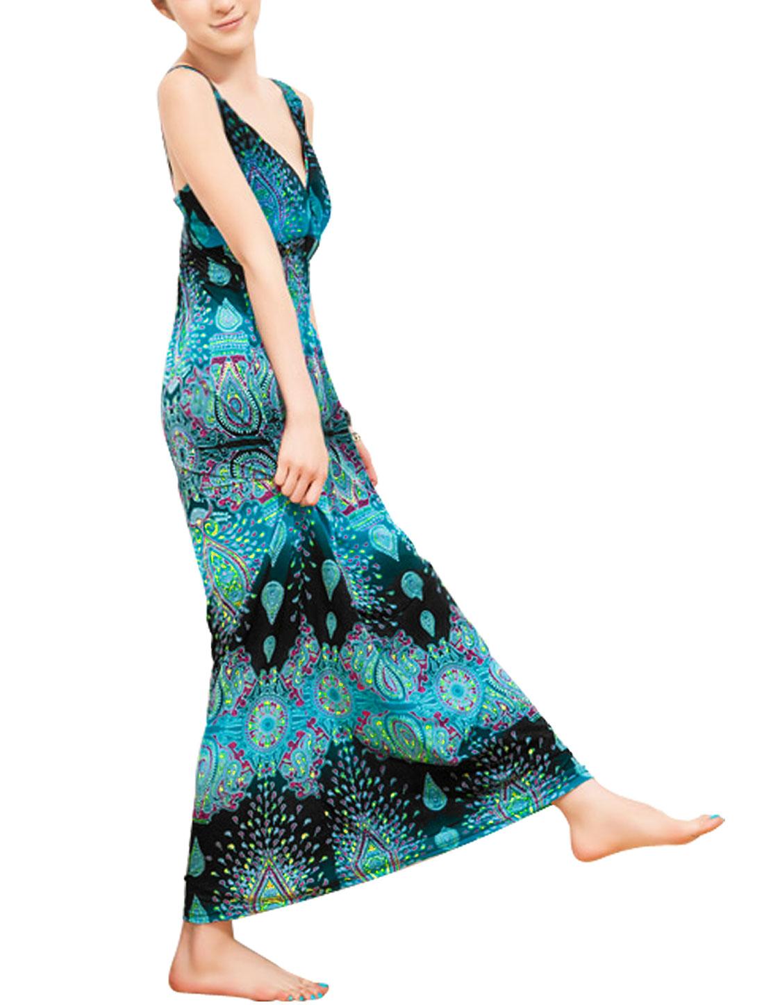 Lady Elastic Waist Full-Length Blouson Dress Sea Blue S