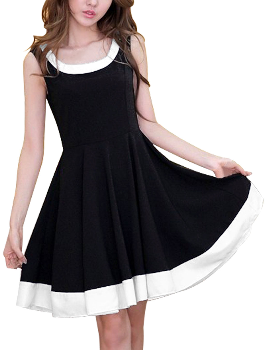 Women Scoop Neck Sleeveless Hidden Zipper Side Colorblock Dress Black S
