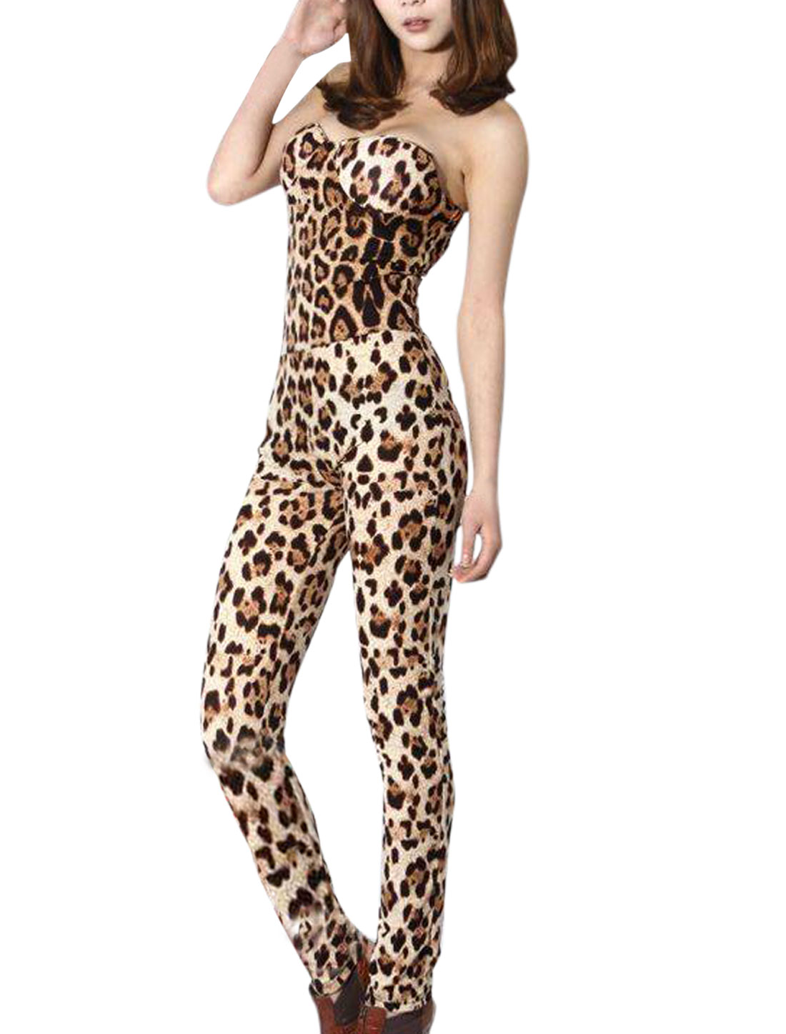 Lady Strapless Padded Bust Leopard Prints Jumpsuit Brown XS