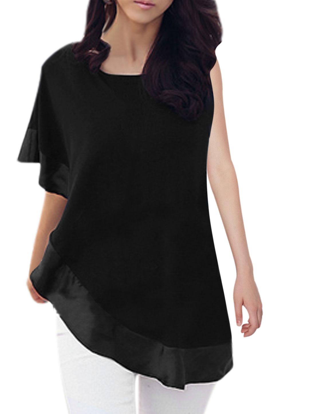 Women Round Neck Asymmetrical Sleeve Panel Design Top Black XS