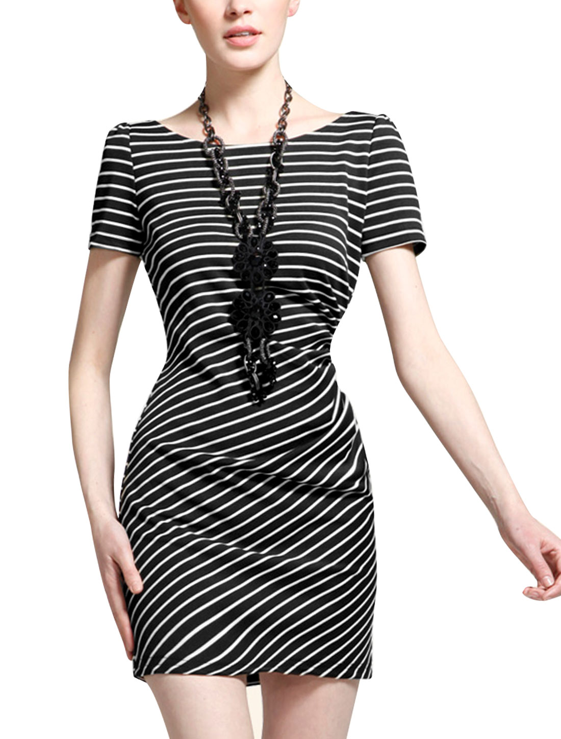 Lady Round Neck Short Sleeve Stripes Lace Panel Dress Black S