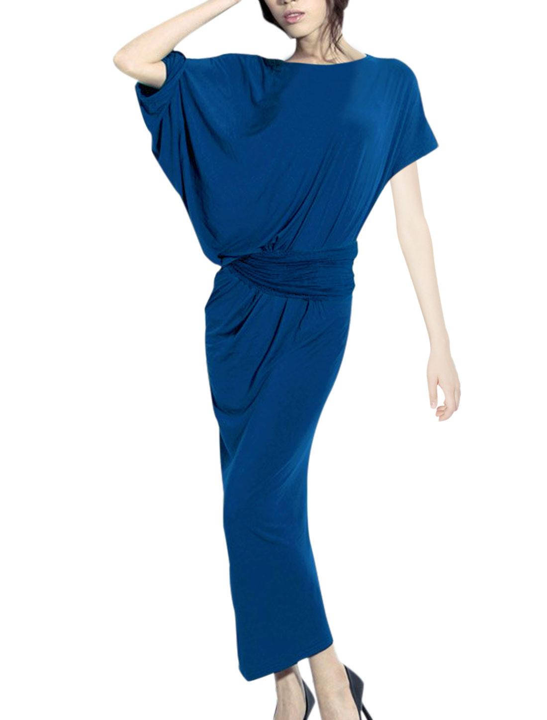 Lady Short Batwing Sleeve Closet Ring Waist Dress Royal Blue S