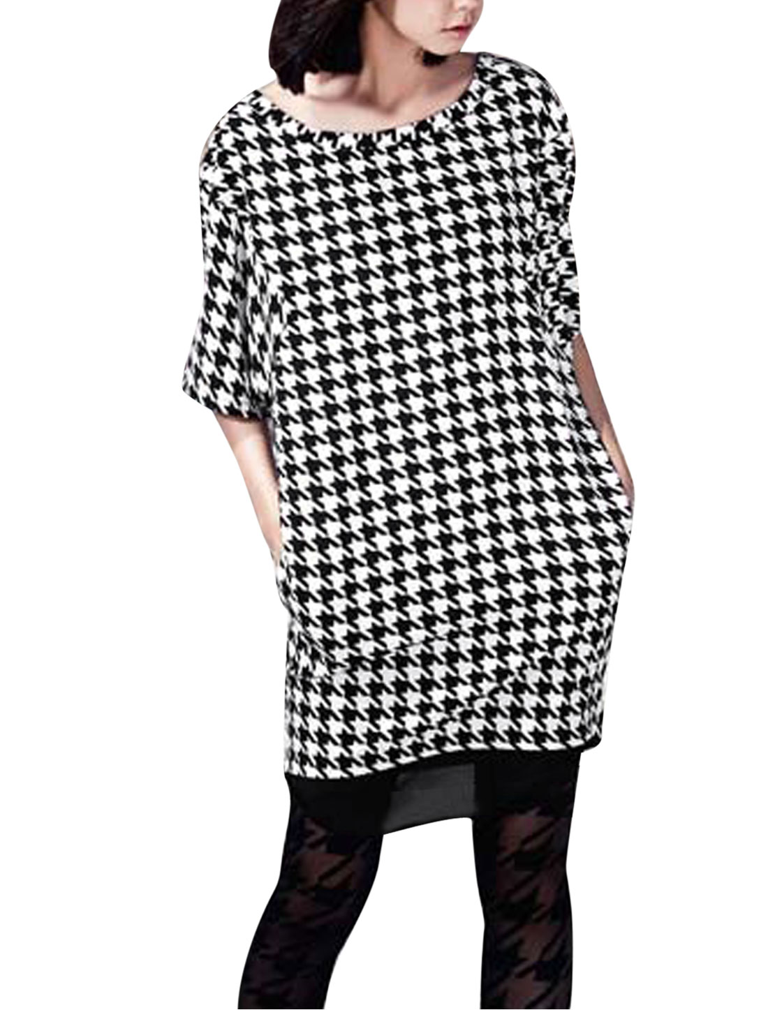 Lady 1/2 Batwing Sleeve Houndstooth Pattern Zipper Decor Dress Black White S