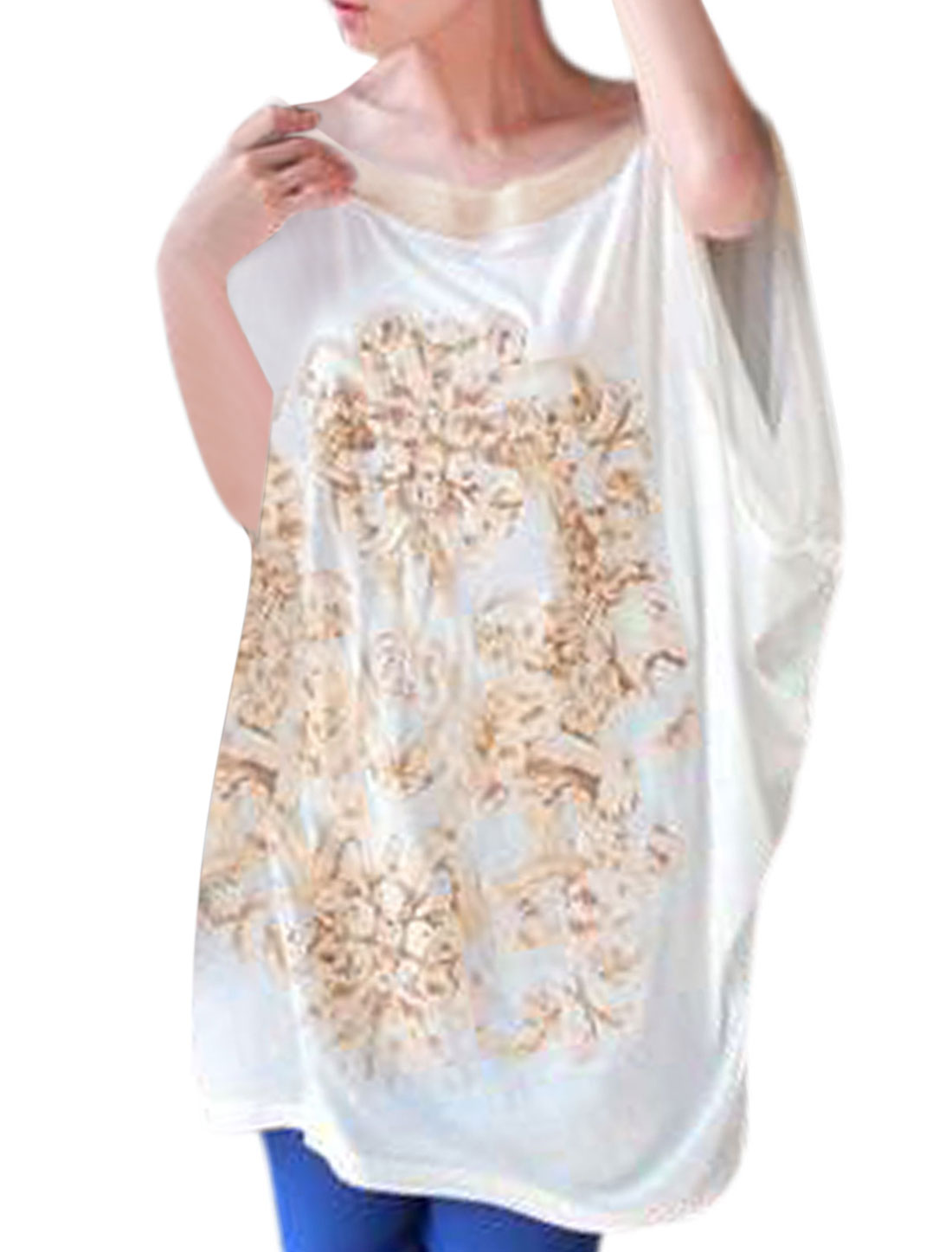 Lady Round Neck Short Batwing Sleeve Top White XS