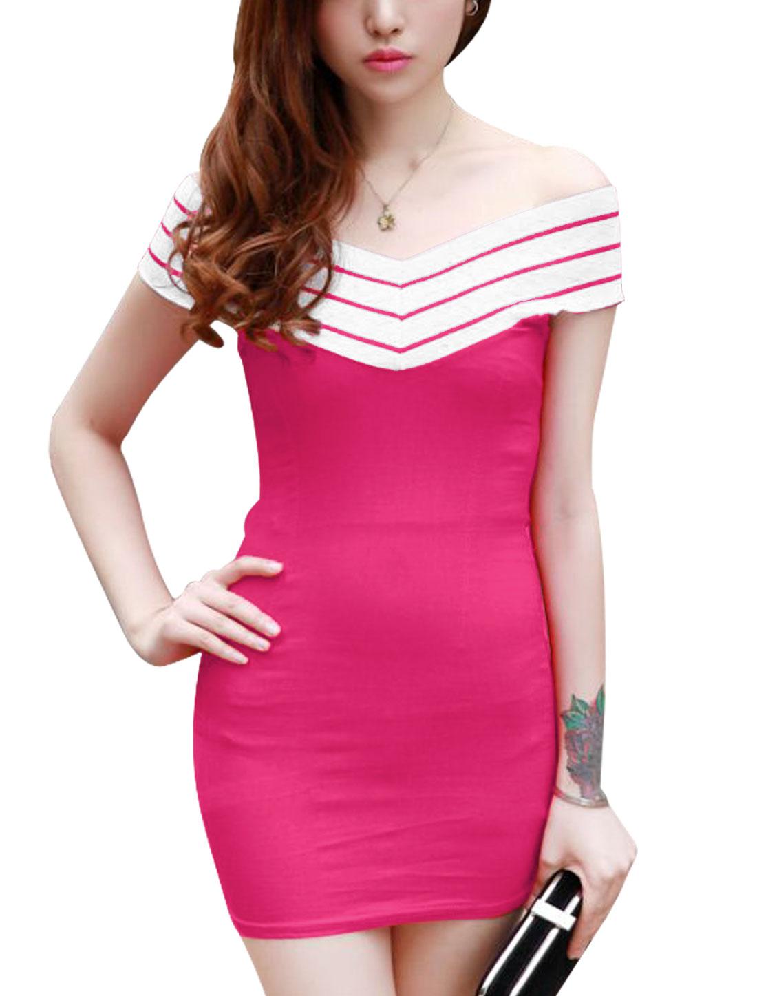Lady Stripes Panel Off Shoulder Deep V Neck Sheath Dress Fuchsia XS