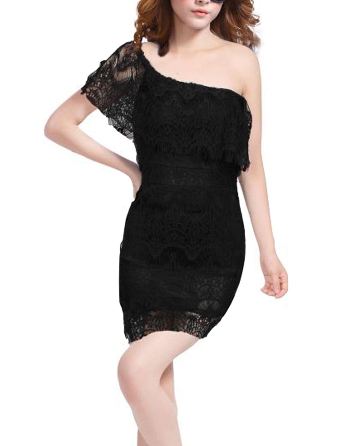 Lady Lace Design Off Shoulder Lining Slim Fit Sheath Dress Black XS