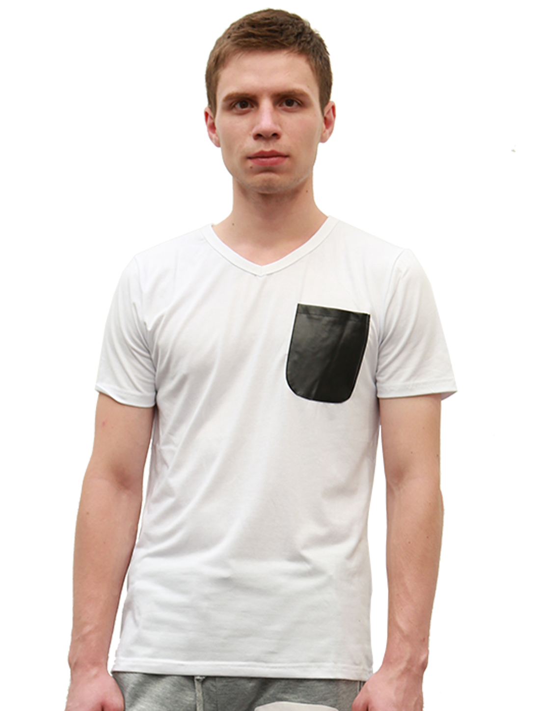 Men V Neck Short Sleeve Design Casual Tee Shirt White S