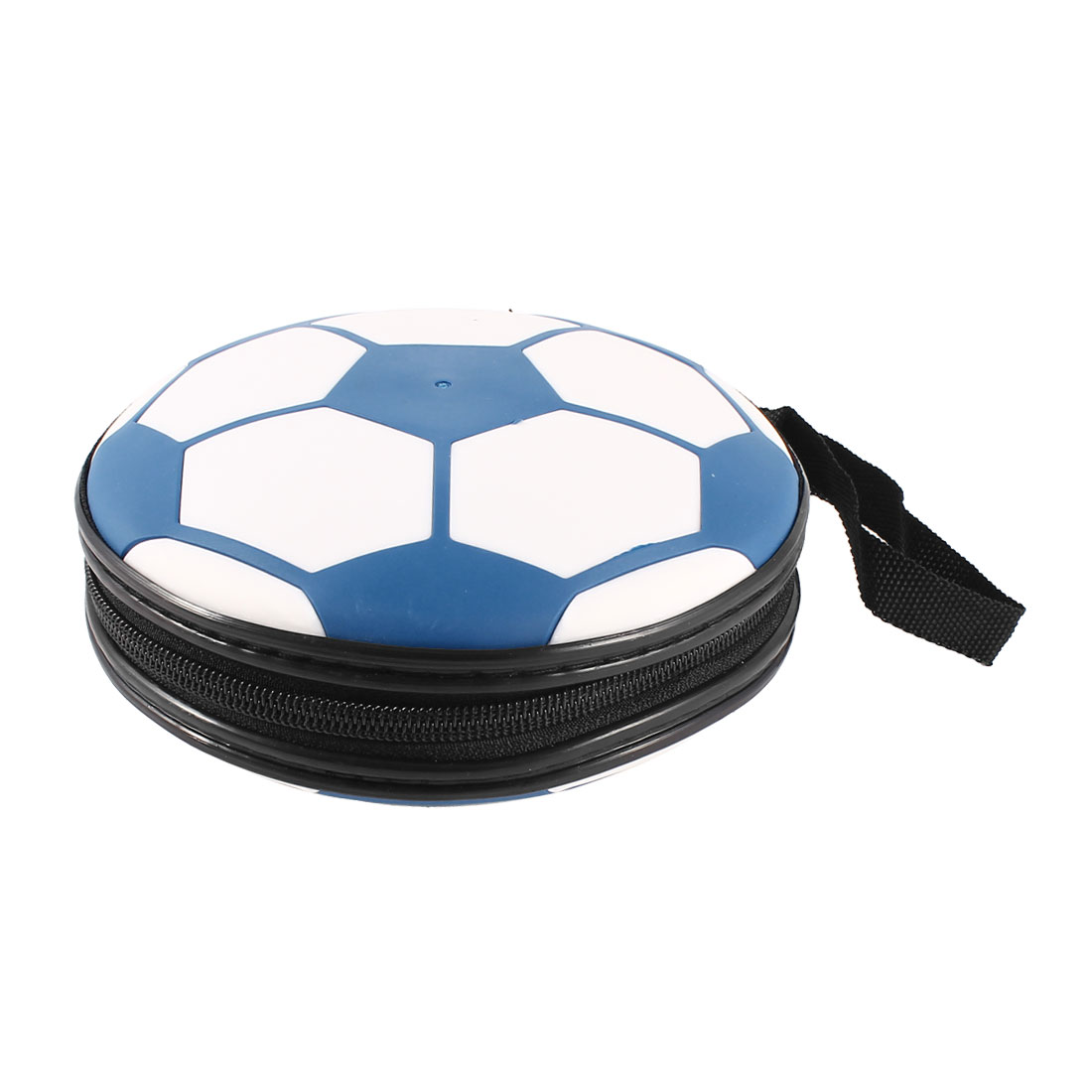 Blue White Plastic Football Pattern Hand Carrying 24 Slots CD VCD Holder Case Storage Bag