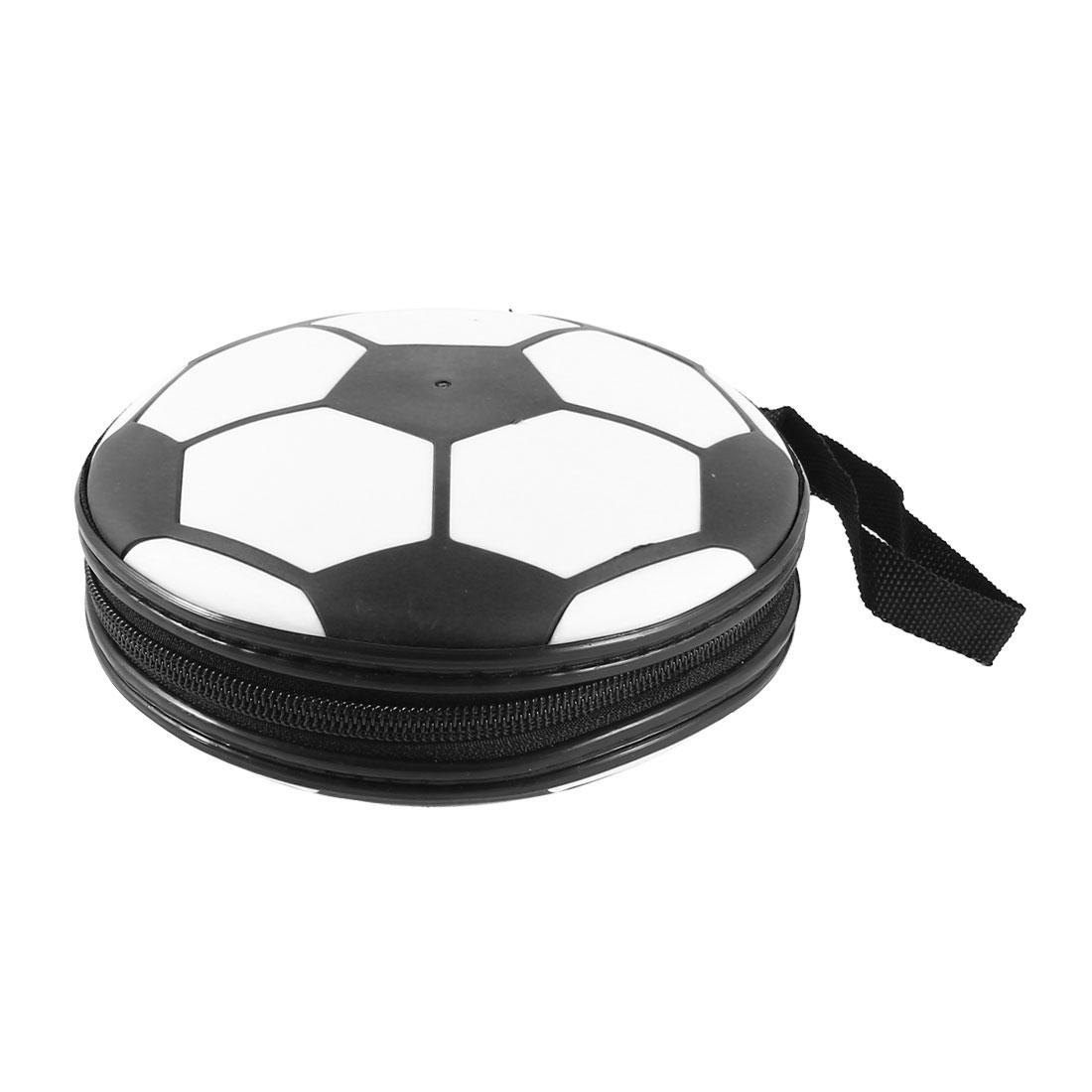 Football Style Zipper Closure 24 Pockets CD DVD Holder Storage Case Bag Orangizer