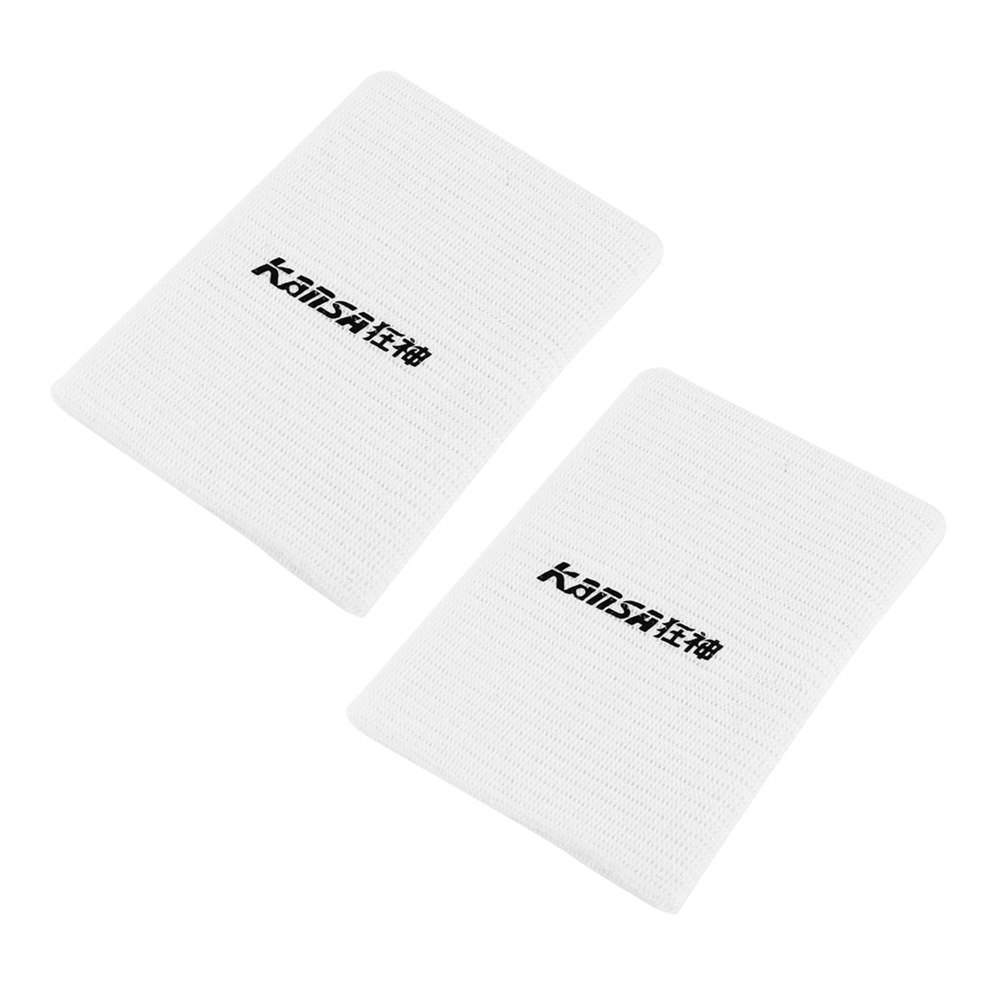 Sports Athletics White Elastic Wrist Band Support Brace Protector Pair