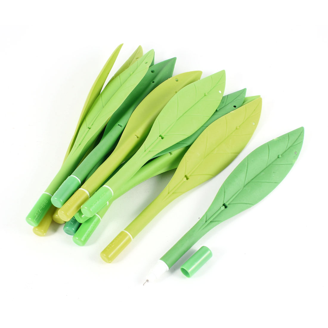 12pcs Yellow Green Plastic Leaf Shaped 0.38mm Tip Black Gel Ink Ballpoint Pen
