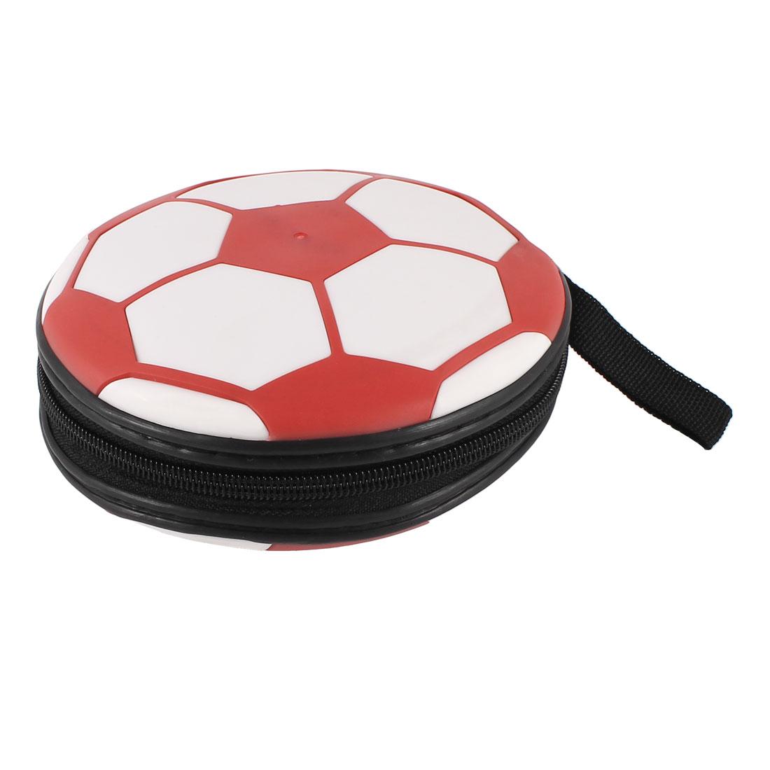 White Red Football Pattern 24 Slots CD DVD Disc Holder Bag Organizer