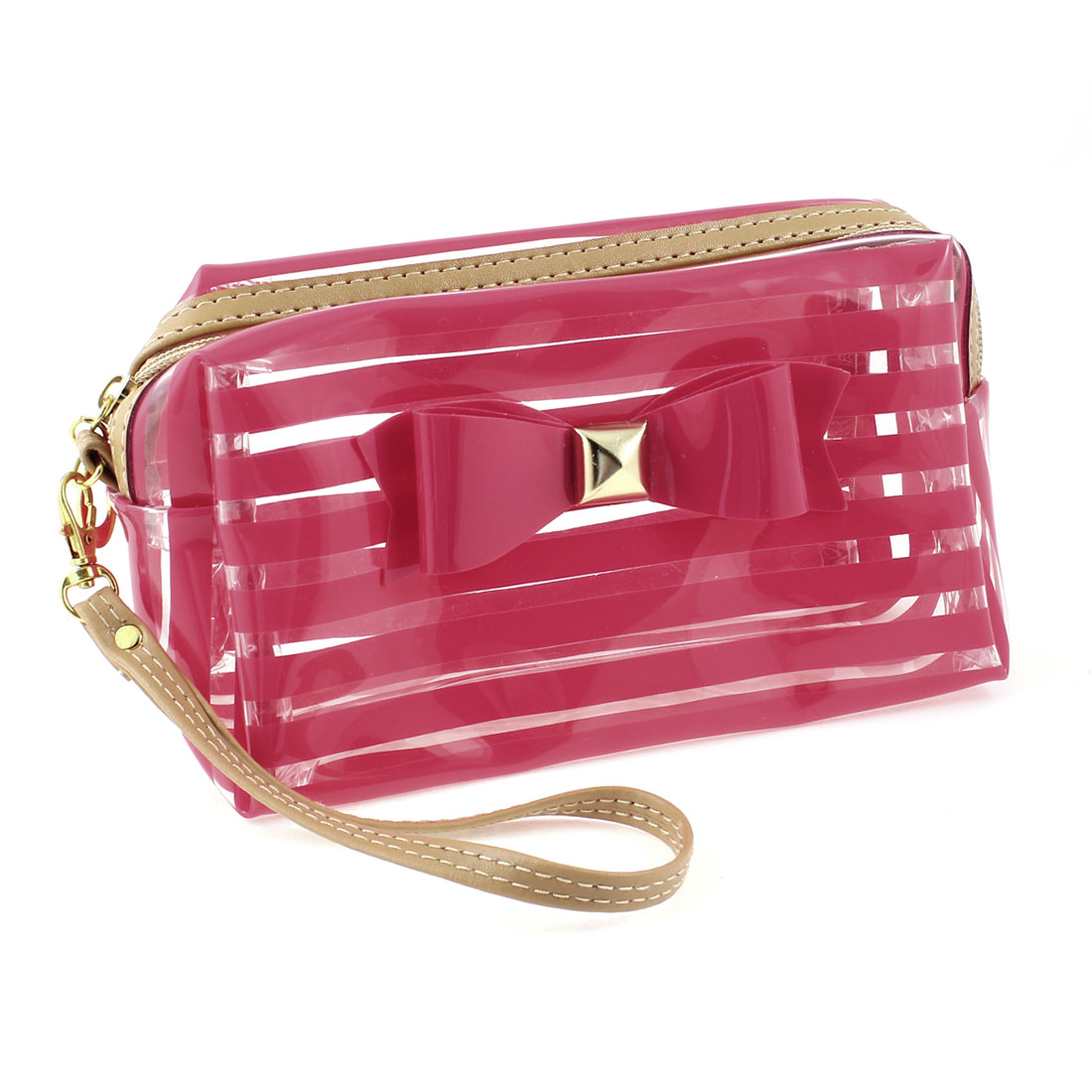 Lady Red Clear Stripe Printed Zipper Closure Sundry Cosmetic Make-up Bag
