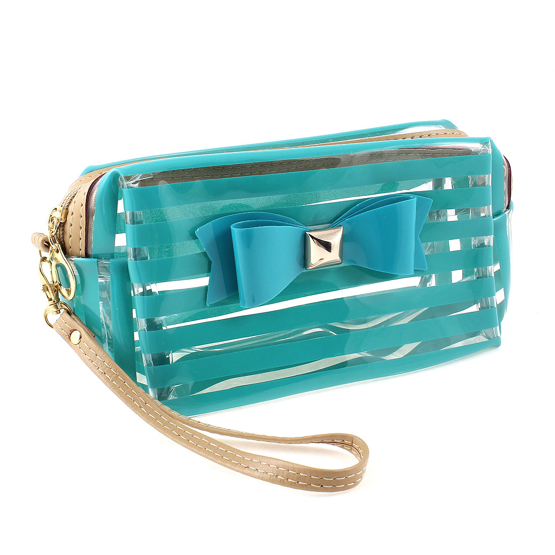 Women Green Clear Stripe Pattern Bowknot Detail Zip Closure Cosmetic Bag
