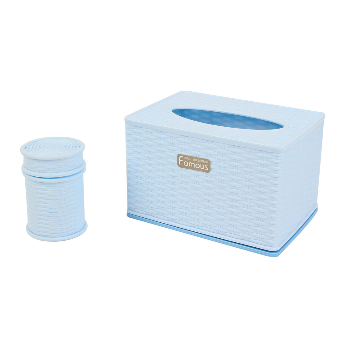 Houshold Blue Rectangle Detachable Lid Tissue Box Case + Toothpick Holder