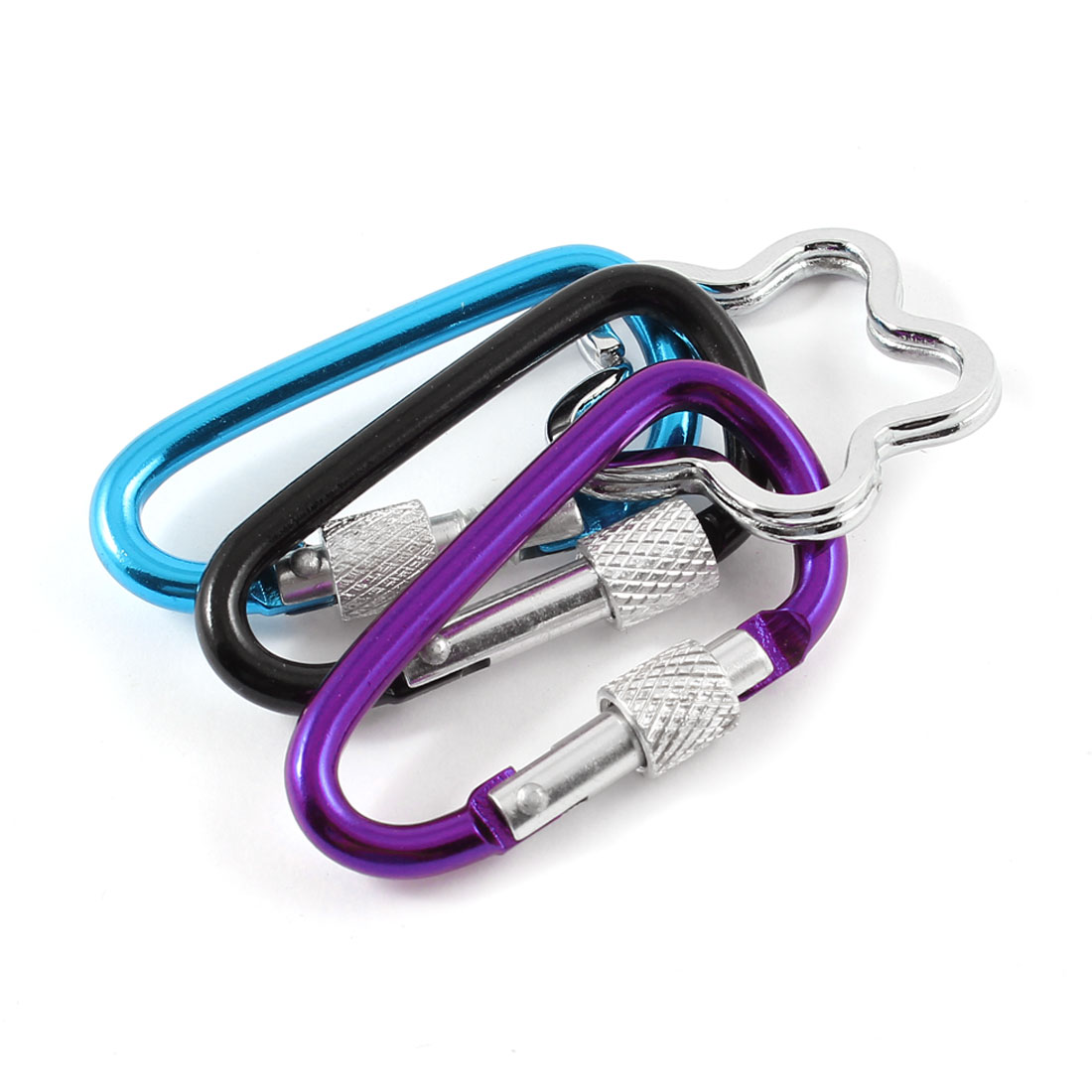 Camping Traveling Screw Locking Carabiner Hook Keyring Blue Purple Black