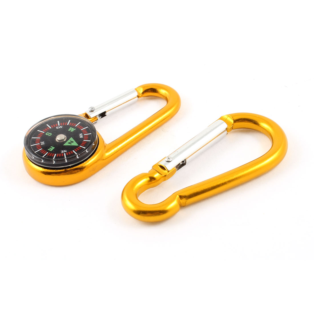 Camping Gold Tone Aluminum Alloy Spring Loaded Gate Carabiner Hook Clip 2 in 1