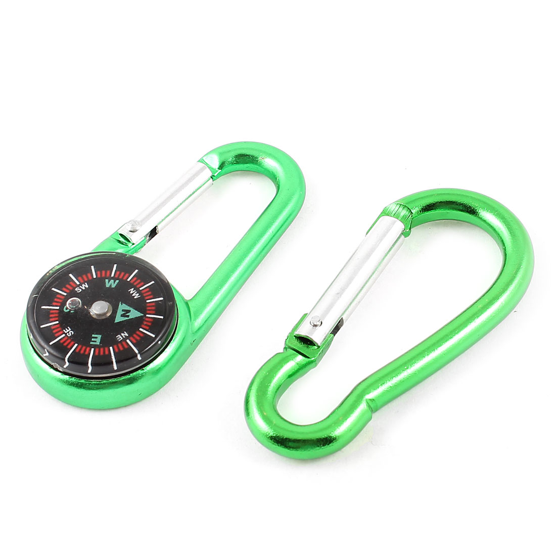 "Hiking Aluminum Alloy Snap Hook Compass Carabiner Green 2.7"" Long 2 in 1"