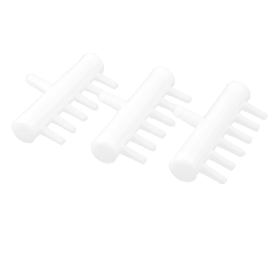 Aquarium Tank Plastic 6 Ways 5mm Tube Connector Air Flow Valve Pump 3pcs