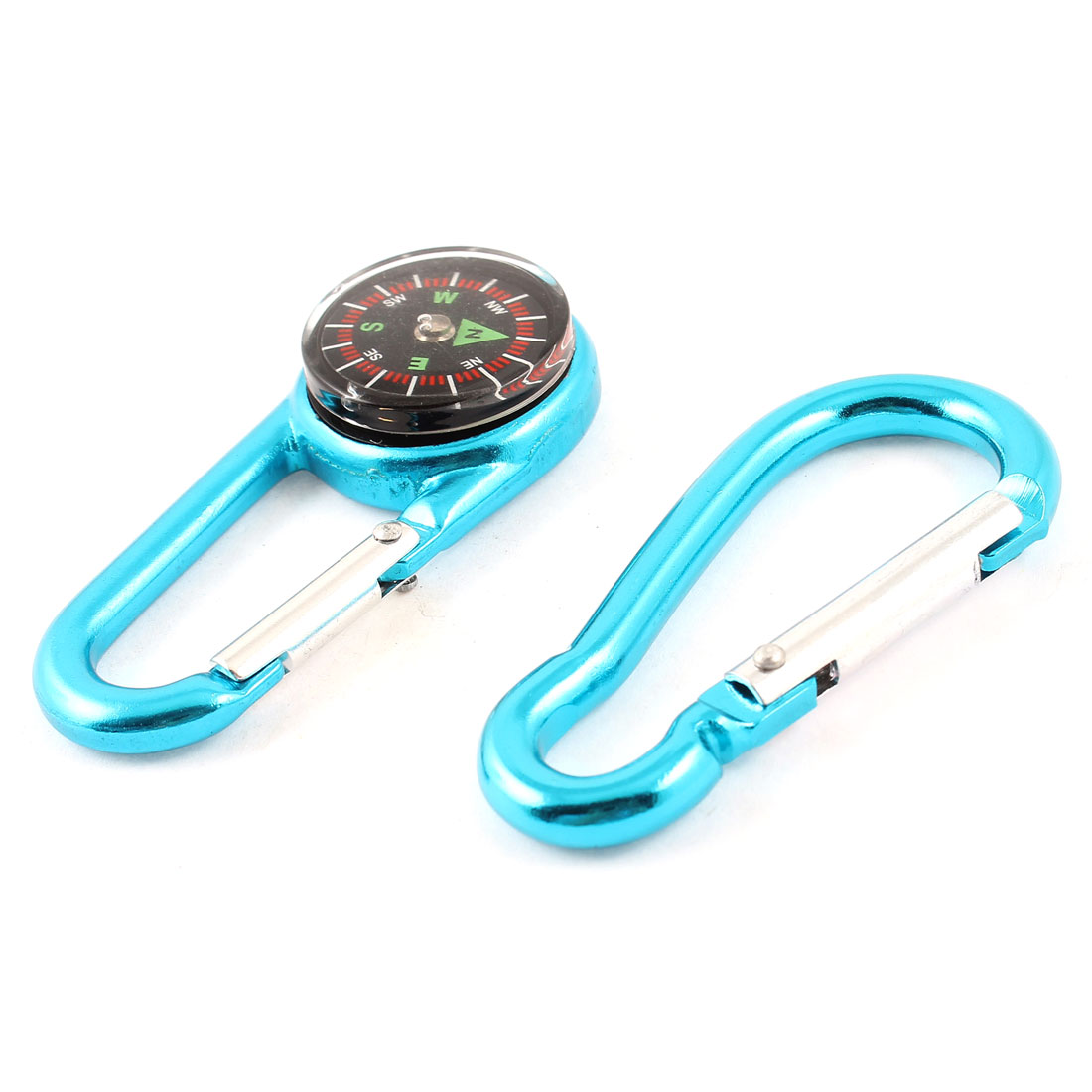 "Hiking Aluminum Alloy Snap Hook Compass Carabiner Teal Blue 2.7"" Long 2 in 1"