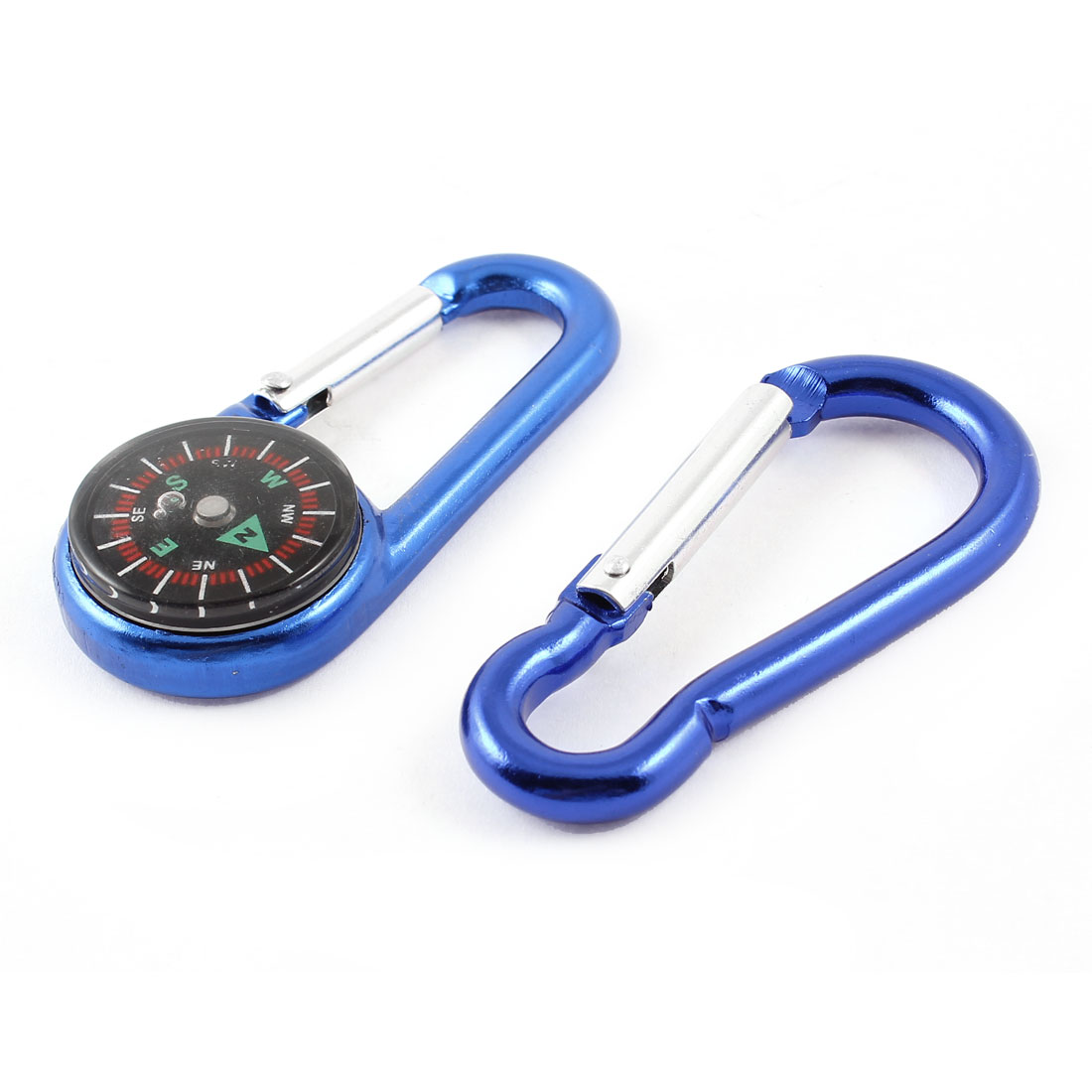 "Hiking Aluminum Alloy Snap Hook Compass Carabiner Blue 2.7"" Long 2 in 1"