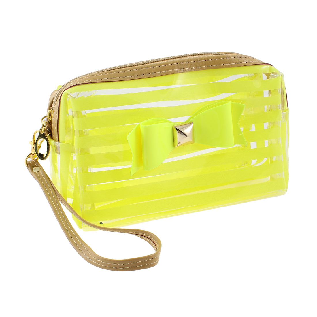 Lady Yellow Green Stripe Printed Zipper Closure Sundry Cosmetic Make-up Bag