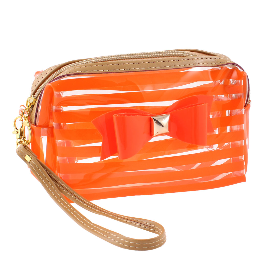 Women Orange Clear Stripe Pattern Bowknot Detail Zip Closure Cosmetic Bag