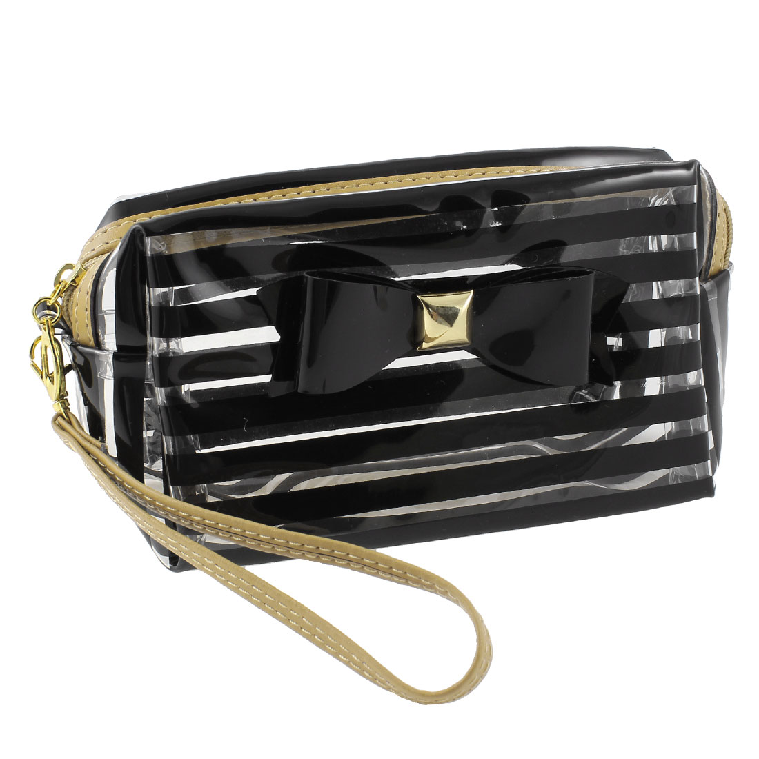 Black Clear Bowknot Accent Striped Zip Up Makeup Pouch Cosmetic Bag for Girl