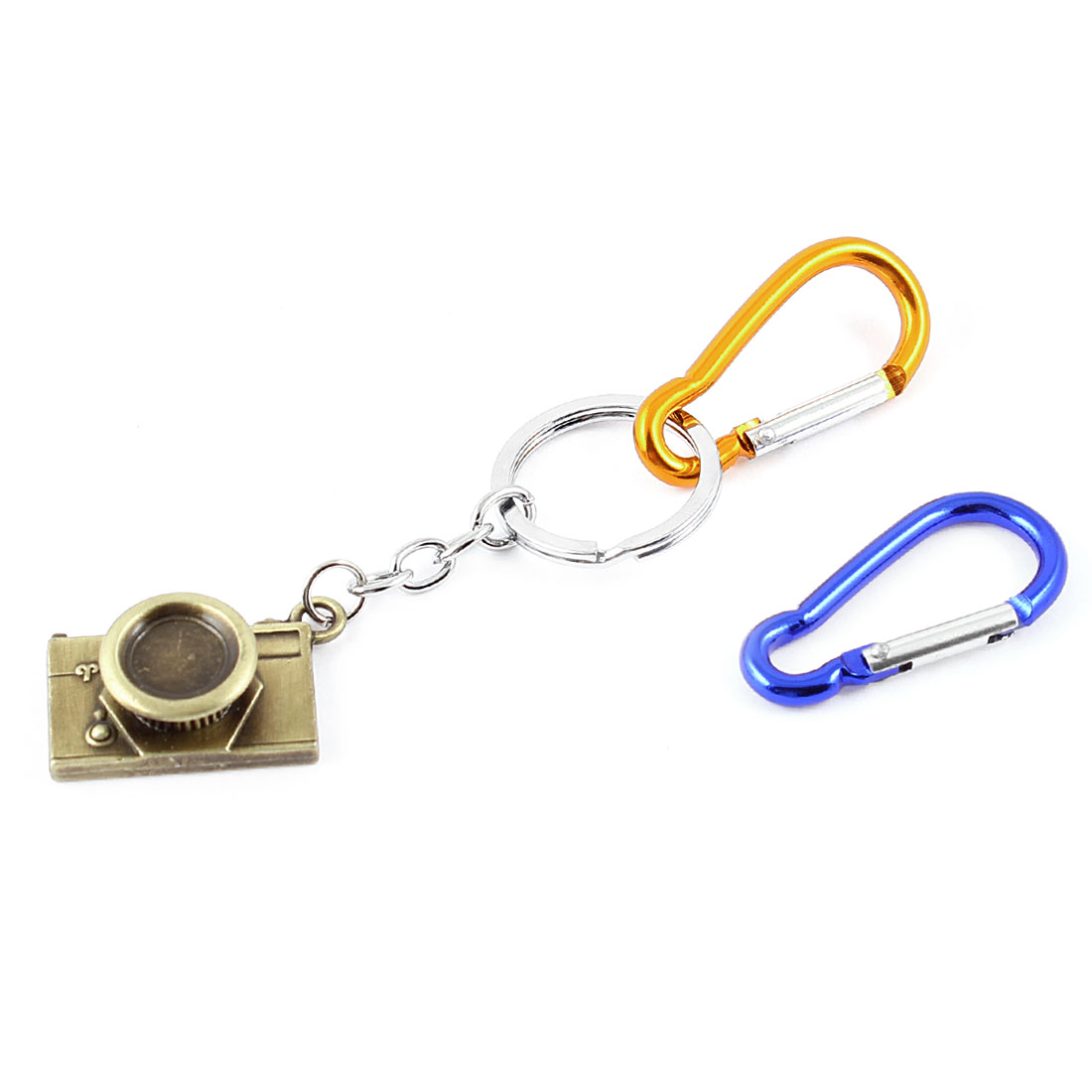 Camera Pendant Split Key Ring Keychain Carabiner Bag Decoration Orange Blue 3 in 1