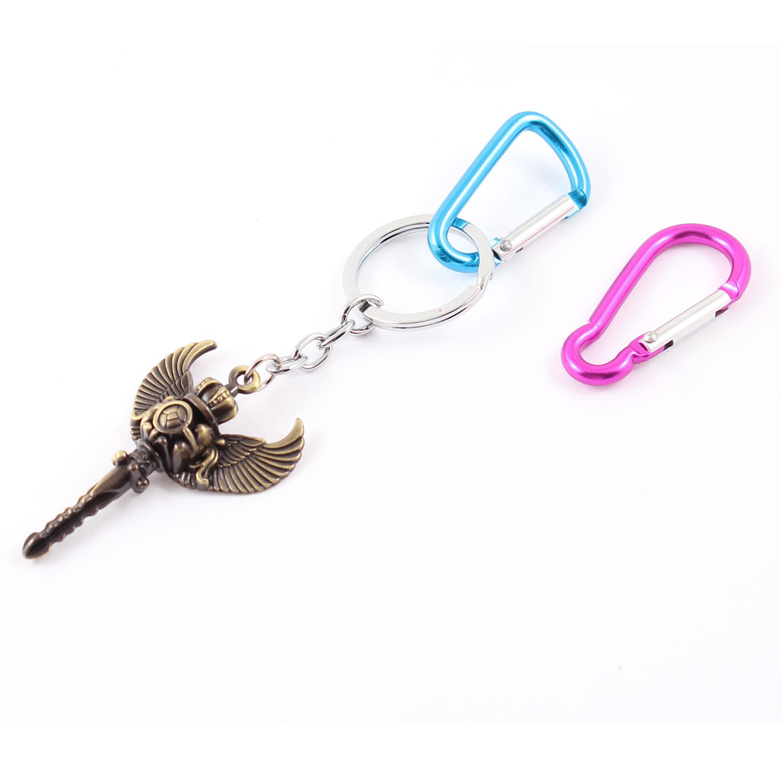 Spring Loaded Gate Carabiner Key Pendant Keyring Keychain Blue Fuchsia 3 in 1