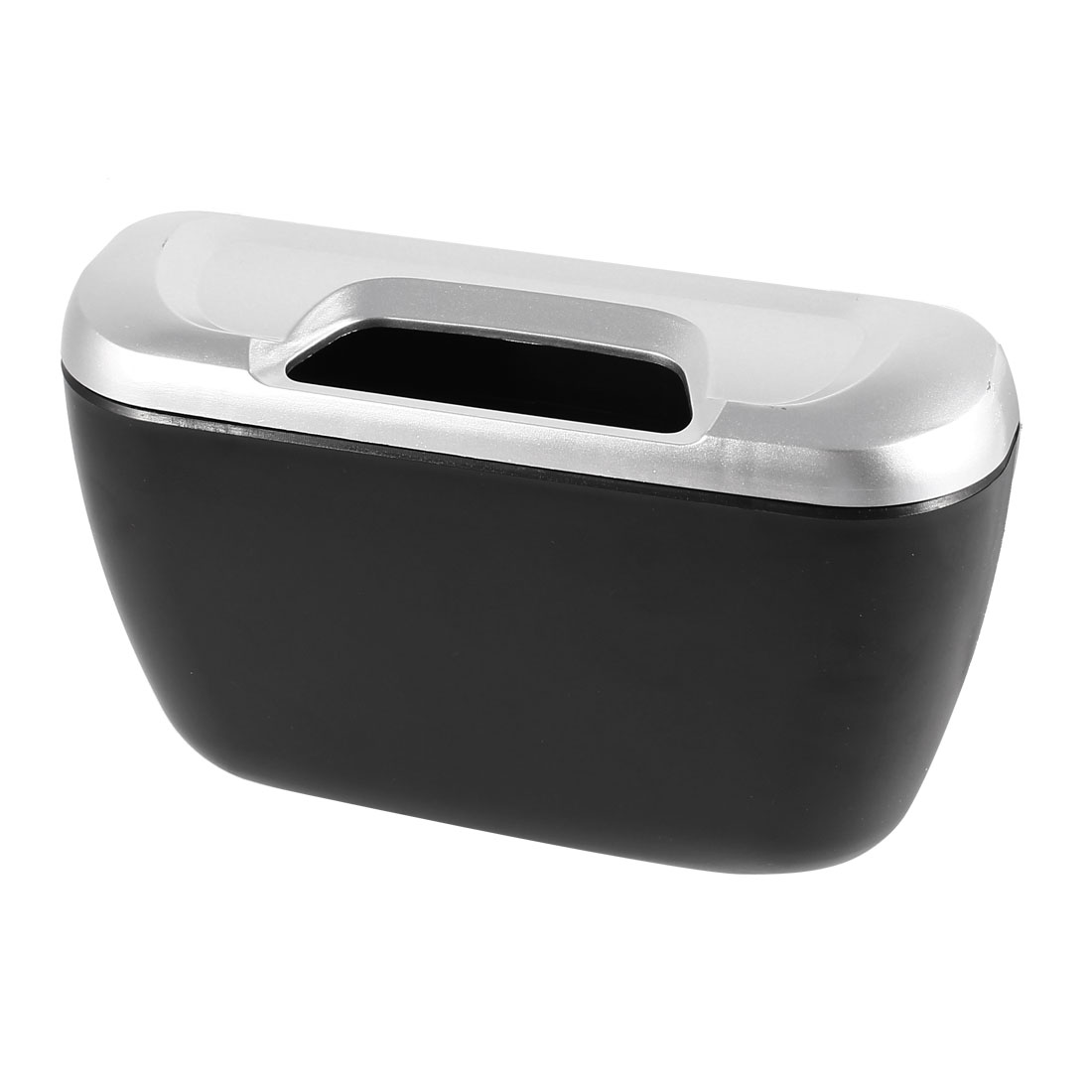 Car Auto Trash Bin Black Silver Tone Plastic Garbage Holder w Hook
