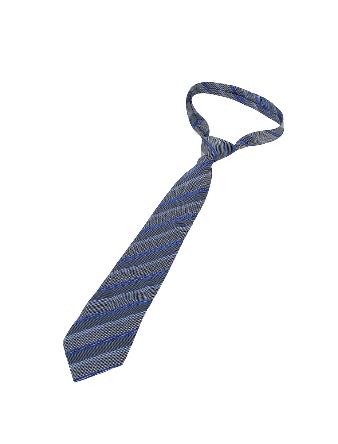 10cm Wide Gray Blue Polyester Diagonal Stripes Self Tie Necktie for Men