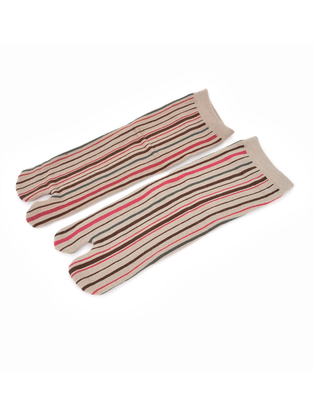 Pair Stripes Pattern Sportive Two Toe Socks Assorted Color