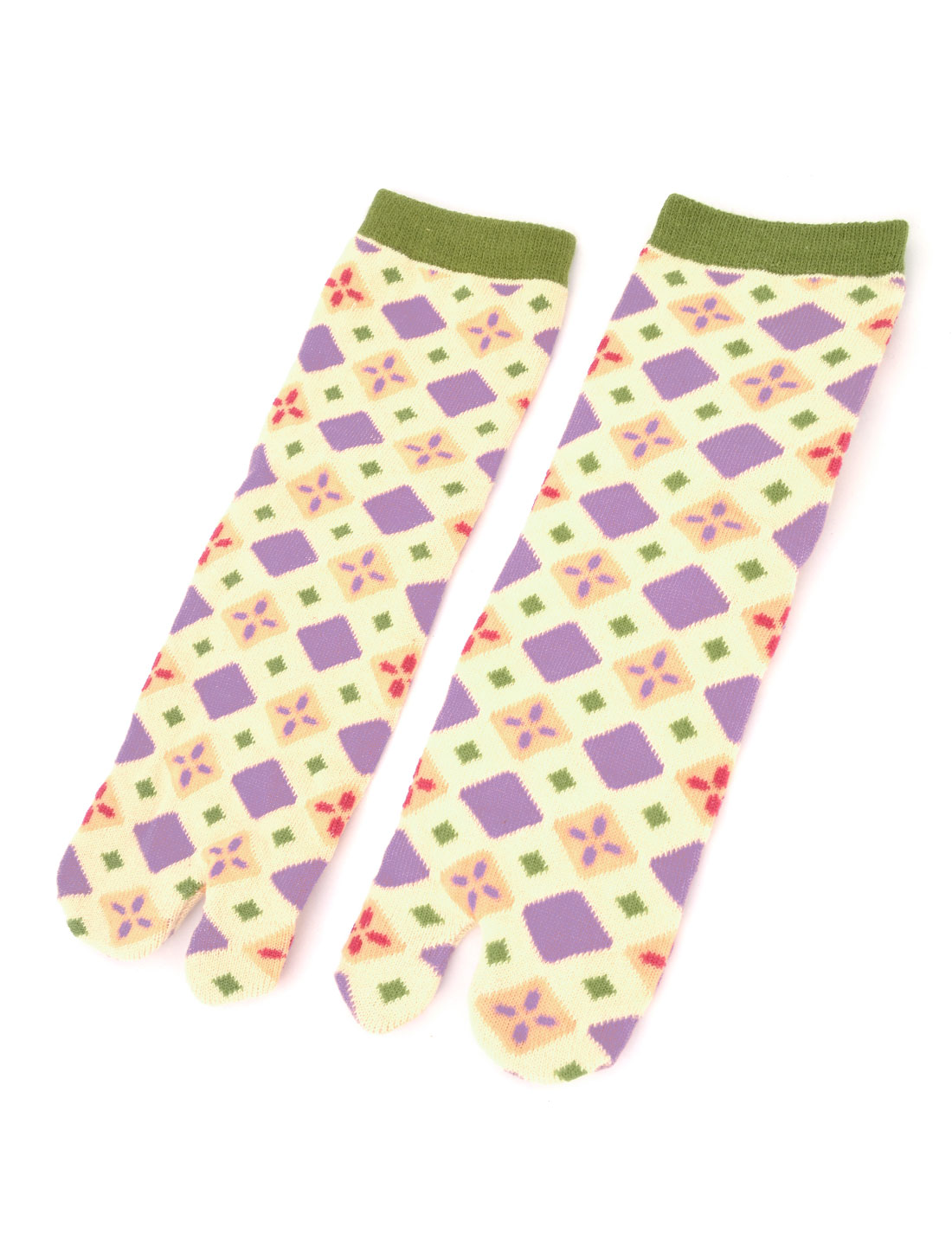Pair Geometric Pattern Elastuc Cuff Two Toe Socks Pale Yellow for Woman