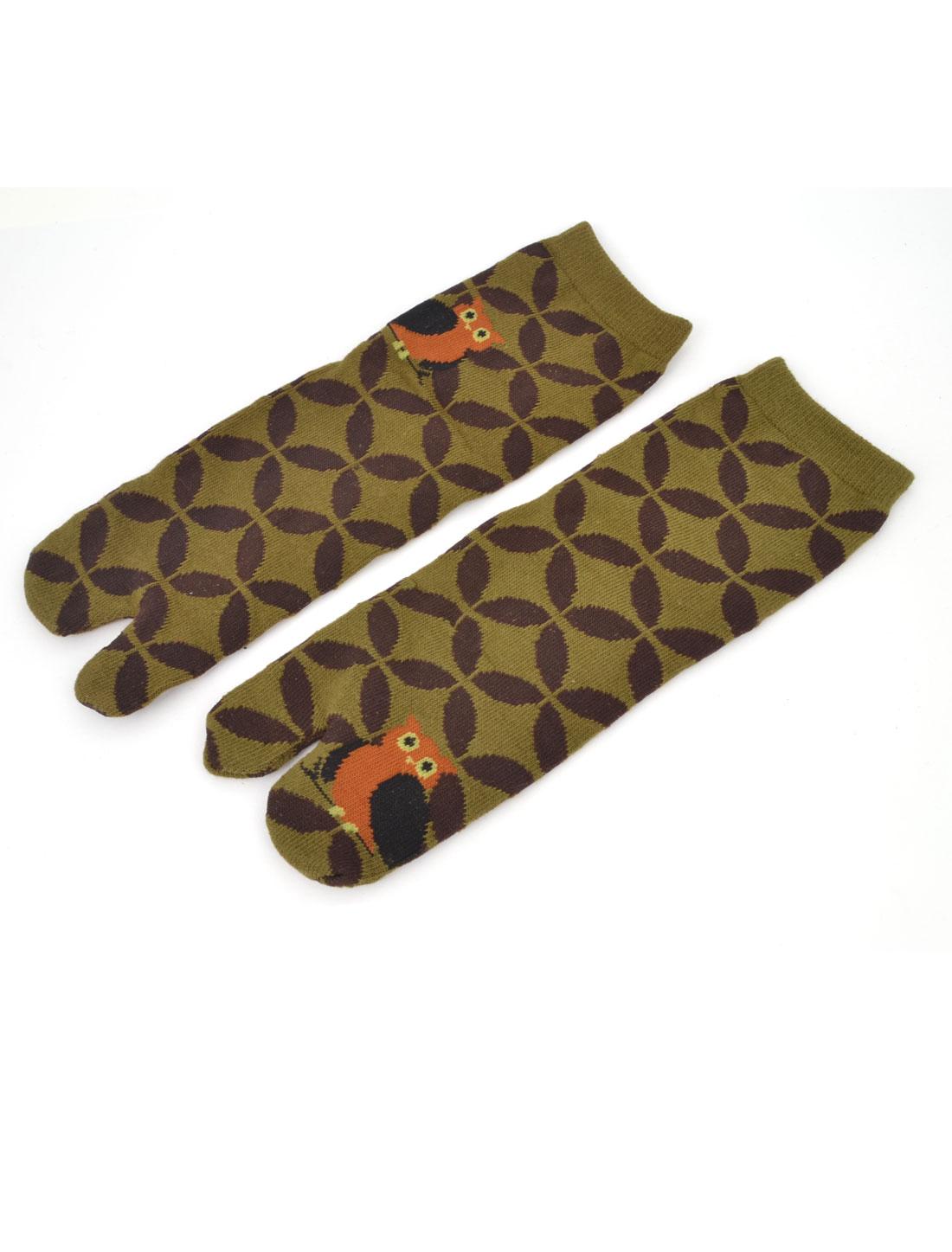 Pair Flower Pattern Sportive Two Toe Socks Brown Dark Khaki