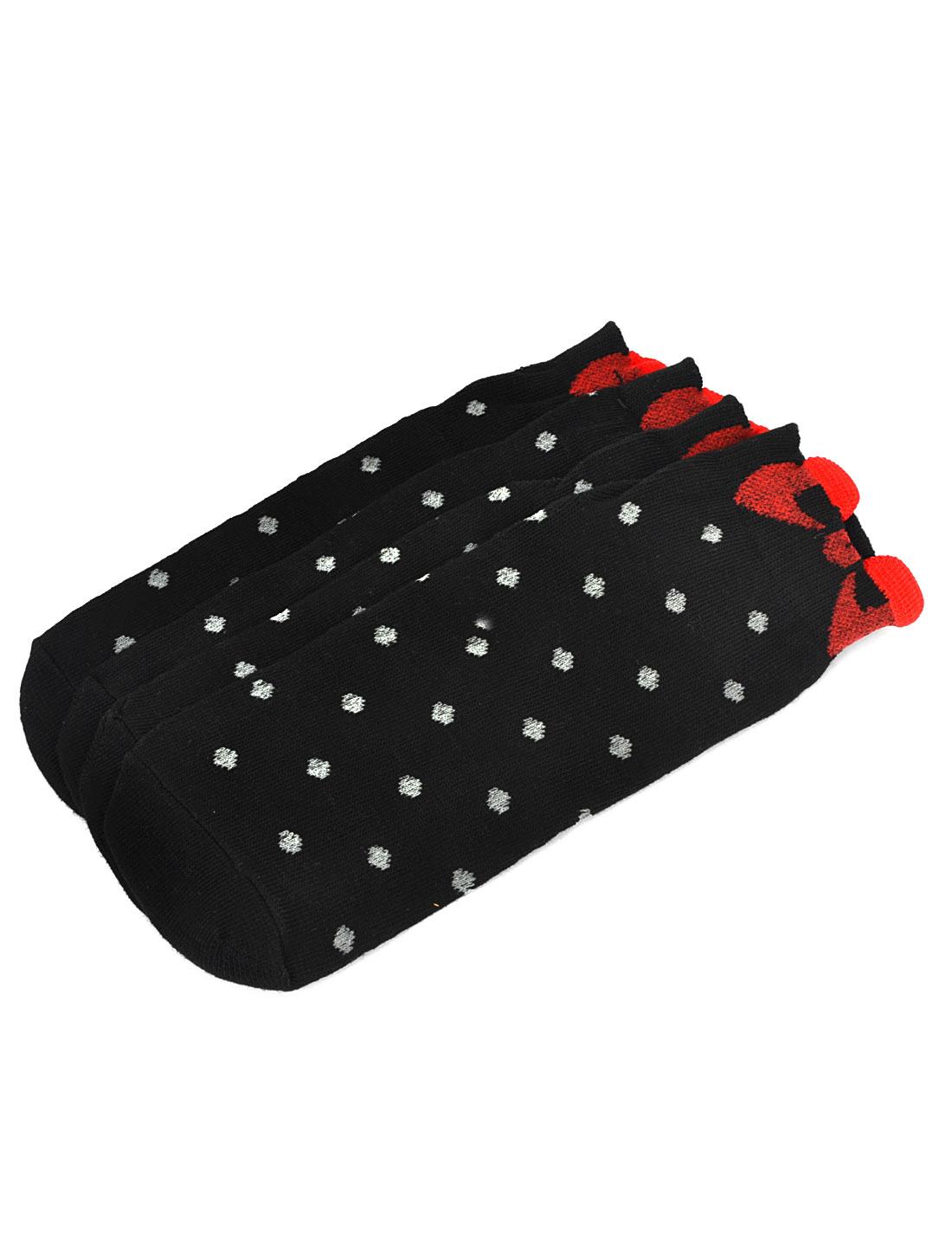 2 Pairs Black Spot Dot Pattern Elastic Ankle Socks for Girls