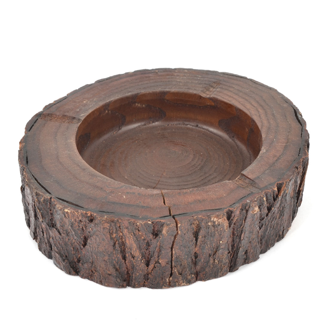 2cm Depth Craft Dark Brown Wood Round Cigarette Ash Tray Stand Dish Holder