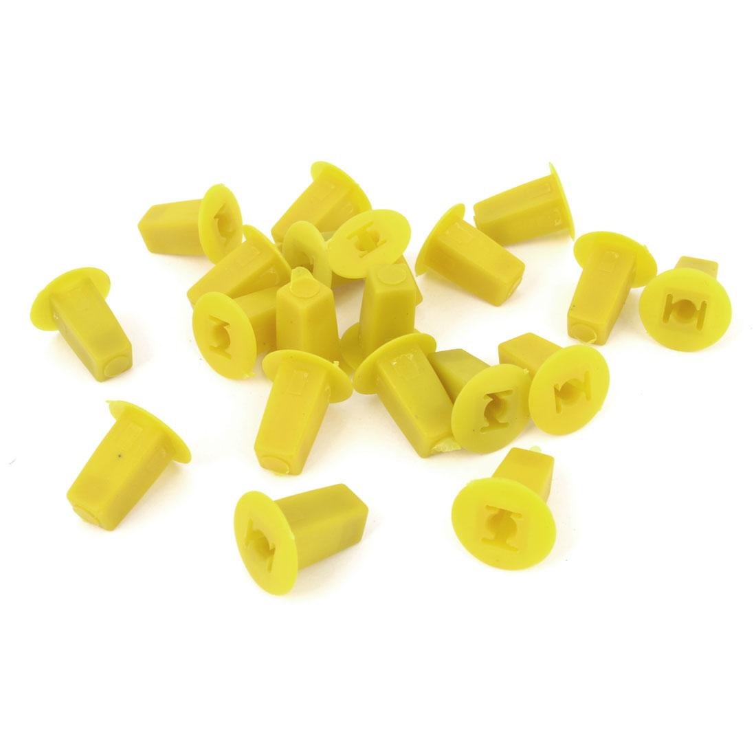20Pcs Car Yellow Plastic Square Push Screw Rivet Fairing Panel Fixing Clips